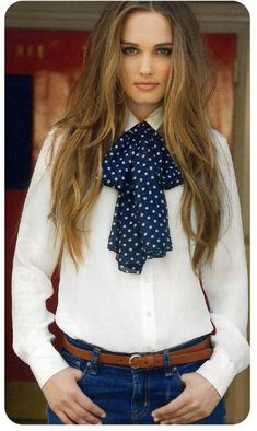 Dressed Formal In White Blouse With Bow And Blue Jeans Pants Office Outfits, Casual Outfits, Fashion Outfits, Womens Fashion, White Blouse With Bow, Blue Jeans, Blue Jean Dress, Diy Vetement, Blouse Outfit