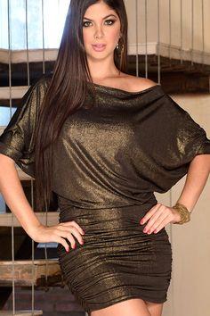 Gouden glitter jurk, off shoulder met vleermuismouwen
