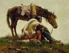 Howard Terpning is an american painter and illustrator best known for his paintings of Native Americans. Learn more about Howard and his artwork here! Native American Pictures, Native American Artwork, Native American Artists, American Indian Art, Native American Indians, Plains Indians, Indian Paintings, Cool Paintings, Howard Terpning