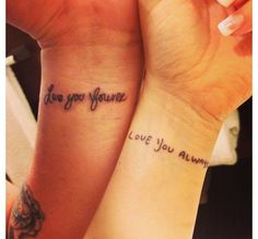His and hers tattoo. My writing on me and his on mine. #alwaysandforever