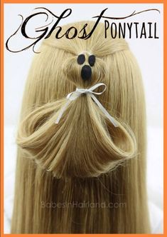 Have spook-tacular hair this Halloween with this cute Ghost Ponytail Hairstyle # Box Braids Hairstyles, Kids Braided Hairstyles, Holiday Hairstyles, Fancy Hairstyles, Little Girl Hairstyles, Halloween Hairstyles, Hairstyles Men, Drawing Hairstyles, Toddler Hairstyles