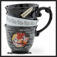 ALICE IN WONDERLAND - BLACK STACKED TEA CUP or COFFEE MUG - I love this. it looks like its 3 tea cups stacked but its really just one made to look like 3