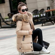 Six senses Women Coat Jacket Warm Woman Parka Jacket Fur collar hooded Winter Thick Coat Casacos De Inverno Feminino Hooded Winter Coat, Hooded Parka, Hooded Jacket, Casual Winter Outfits, Winter Jackets Women, Coats For Women, Long Parka, Long Overcoat, Leather Trench Coat