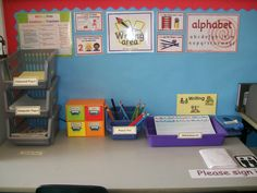 Writing area for reception class Writing Corner, Writing Area, Writing Station, Writing Table, Eyfs Classroom, School Classroom, Year 1 Classroom Layout, Nursery Activities, Writing Activities