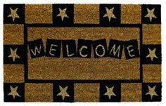 """Primitive Star Door Mat . $26.95. A star is born, right on your doorstep, with this attractive mat bordered with primitive stars. Colors: Natural and forest green. This quality coir (a natural fiber extracted from the husk of coconut) outdoor mat will enhance your door to welcome family and greet guests...and it's practical to boot! Rubber backed and skid resistant. Fade resistant, color fast, absorbs moisture, traps dirt. Dimensions: 18"""" x 30""""."""
