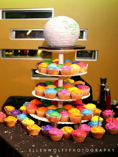Colorful cupcake Bar Mitzvah cake, photographed by Ellen Wolff Photography.