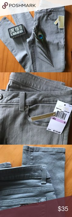 MK MICHAEL KORS SKINNY JEANS 6 NWT Brand new with tags authentic Michael kors skinny jeans! Stretchy material so the fit is way more comfortable and looks way better when worn! Color light charcoal with chrome silver buttons and Michael kors name tag across the back pocket! So people can tell they are MK not just inside tag! $110.00 brand new with tags still bought from nordstroms for my cousin for her birthday and then she lost weight and I lost my receipt! = no good for me! Offers welcome…