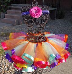 Custom Made Satin Ribbon Edged Tutu, 2 or more Tulle Colors Option. $45.00, via Etsy.