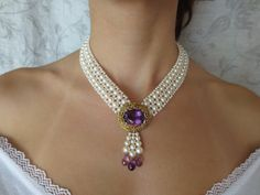 woven pearl necklace with amethyst centerpiece , by Marina J