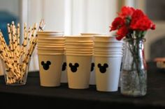 Stickers on white cups