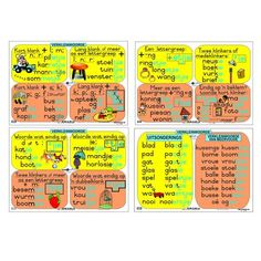 """A set of Full colour, Afrikaans wall charts that describe the diminutives """" verkleinwoords """" that are used with specific words and word endings. Teacher Poems, Grade 3, Afrikaans, Printables, Printable Templates, Afrikaans Language"""
