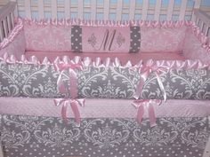 Crib bedding set Gray Damask / Pink Minky 4PC by katyasdesigns