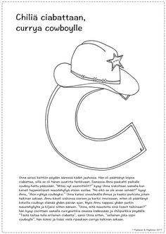 C-kirjaimen tarina ja värityskuva