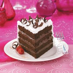4-Layer Chocolate Torte Recipe -When I want to serve a really special dessert, I turn to this recipe. The tender, four-layer chocolate cake has a yummy pudding-like filling.—Lois Gallup Edwards, Woodland, California