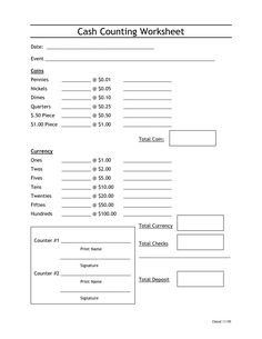 cash register counting sheet