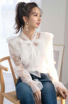 Sheer Tie-Neck Lace Blouse - Looks femininos - Lace Blouse Styles, Classy Outfits, Cute Outfits, Korean Blouse, Girl Fashion, Fashion Dresses, Fancy Tops, Beautiful Blouses, Elegant Outfit