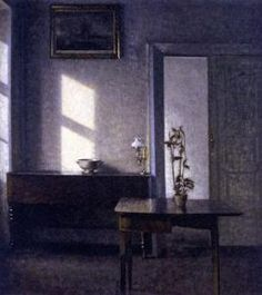 Interior with Potted Plant on Card Table, Bregade 25 Vilhelm Hammershøi - 1910-1911