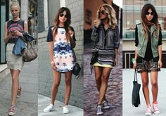 Sneakers with dresses and skirts! My kind of style.  Sporty and girly