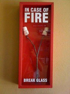 In Case of Fire Break Glass A stick with marshmallows on it in a fire case.