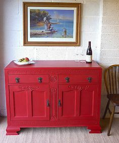 Gorgeous Oak Painted Sideboard in Red Stripe