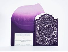 Luxury Wedding Invitations by Ceci New York - Our Muse - Modern Luxury Middle Eastern Wedding - Be inspired by a luxurious, modern Middle Eastern wedding in shades of purple and white - ceci new york, invitations, laser-cut, die-cut, ombre, wedding, purple wedding invitation #purple
