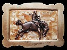 KD23122 VINTAGE 1970s **BUCKING HORSE** RODEO COWBOY WESTERN BELT BUCKLE