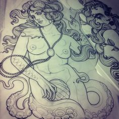 Art Nouveau / Mermaid / Siren / Octopus / Polvo /Sereia / Deep Sea