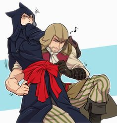 Assassins creed unity axeman ties a bow on arno :3 on http://sinzui.tumblr.com/tagged/my+art/page/5