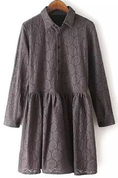Lace Turn Down Collar Long Sleeve Dress