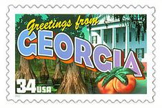 The Georgia State Postage Stamp  Depicted above is the Georgia state 34 cent stamp from the Greetings From America commemorative stamp series. The United States Postal Service released this stamp on April 4, 2002. The retro design of this stamp resembles the large letter postcards that were popular with tourists in the 1930's and 1940's.