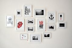 wall, pictures, arrangement