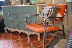 Mid century chair. Love the orange with the aqua @ www.chartreuseandco.com