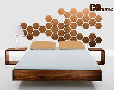 Kupfer HEXAGON geometrische Waben Wand Aufkleber Vinyl zu Hause