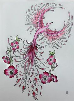 Pink Phoenix Freehand Pen and Ink Template - Pink Phoenix Freehand Pen and . - Pink Phoenix Freehand Pen and Ink Template – Pink Phoenix Freehand Pen and Ink Template – Effec - Phoenix Tattoo Feminine, Phoenix Tattoo Design, Tiny Flower Tattoos, Flower Tattoo Designs, Kunst Tattoos, Body Art Tattoos, Ear Tattoos, Tattos, Wing Tattoos