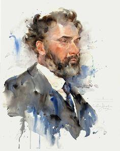 """Ewa Ludwiczak Gustav Klimt Watercolour on Fabriano Artistico hot pressed paper, 16"""" x 20"""""""