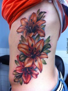 Tiger Lily Tattoos On Side...