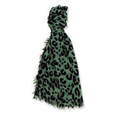 Lenço verde com estampa preta