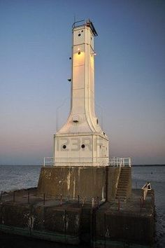 """Huron, Ohio - first lighthouse was early back in the 1830s. Then in the 1936, a new lighthouse was built using the """"art-deco"""" style that was typical of that time period."""