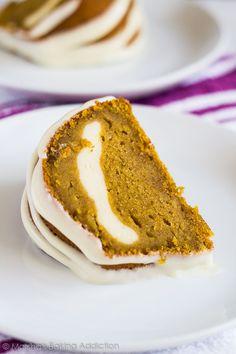 Cheesecake Swirl Pumpkin Bundt Cake | marshasbakingaddiction.com…