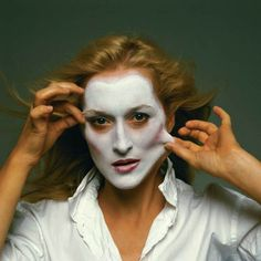 Meryl Streep posing in an Annie Leibovitz photograph for Rolling Stone Magazine