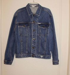 Vintage Guess Georges Marciano Mens Classic Trucker Denim Jean Jacket Size L #GUESS #JeanJacket