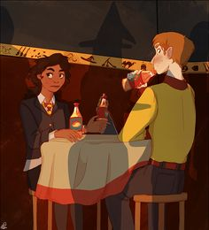 Sneaking butterbeer to an invisible friend in the middle of a crowded café may be a bit harder than the anticipated… art by phebs