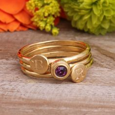 Stackable Rings in Gold Vermeil. Choose 2 Initial or Stackable Birthstone Rings, Stackable Rings, Sterling Silver Rings, Gold Rings, Multiple Rings, Personalized Jewelry, Birthstones, Amethyst, Rings For Men