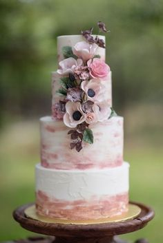 Brushed Rose Gold, Pink and Mauve Rustic Buttercream Wedding Cake with Gumpaste Flowers