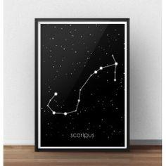 Plakat z gwiazdozbiorem Skorpiona (Scorpius)   http://scandiposter.pl/plakaty/147-plakat-ze-znakiem-zodiaku-skorpion.html