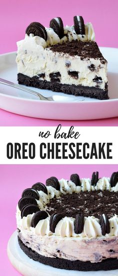 No Bake Oreo Cheesecake, Desserts, This No Bake Oreo Cheesecake is the ultimate cookies and cream dessert. With a crunchy Oreo crust and a creamy cheesecake filling, it's so easy to mak. Oreo Dessert, Oreo Cake, Cookie Desserts, No Bake Desserts, Dessert Recipes, Oreo Brownies, Health Desserts, Health Foods, No Bake Cheesecake Filling