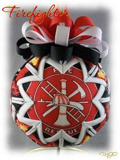 Fire Fighter Quilted Ornament-Fire Fighter Christmas quilted, star ball ornament
