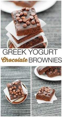 Greek Yogurt Chocolate Brownies- You'd never guess these gluten free brownies are actually healthy- but they are! With a hidden vegetable and made with Greek yogurt instead of butter or oil- These are sinfully nutritious! Also- there is a sugar free option! Perfect low calorie treat! #glutenfree #sugarfree #lowcalorie