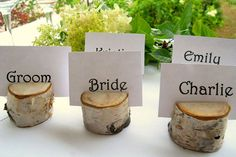 "Birch Place Card Holders ""Right next to burlap as a hot trend is birch. I have been seeing brides use birch in their wedding decorations when going for a rustic-chic style. These simple yet perfectly rustic place card holders from The Hickory Tree will charm your guests and look perfect lined up as your guests come into your reception area."""