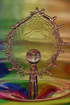 Sphere meets plane in rainbow water drop geometry    Splattered 2 (c) Kurt Hawkins